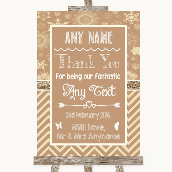 Brown Winter Thank You Bridesmaid Page Boy Best Man Personalised Wedding Sign