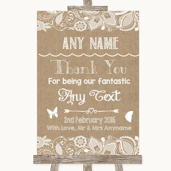 Burlap & Lace Thank You Bridesmaid Page Boy Best Man Personalised Wedding Sign