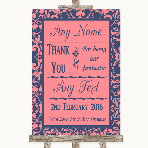 Coral Pink & Blue Thank You Bridesmaid Page Boy Best Man Wedding Sign