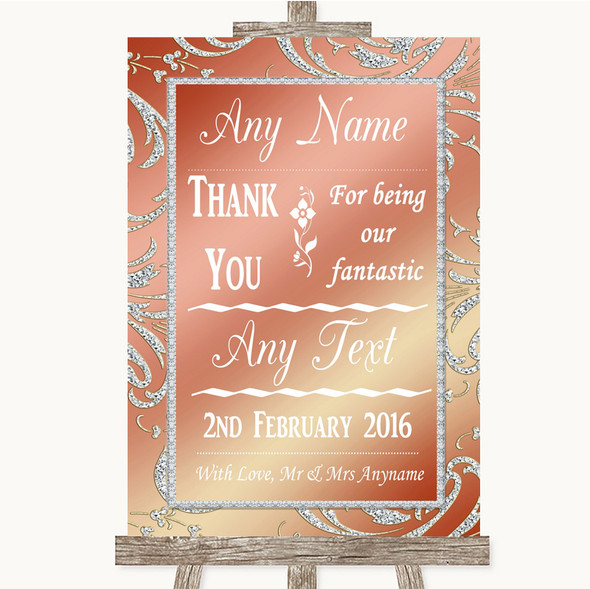 Coral Pink Thank You Bridesmaid Page Boy Best Man Personalised Wedding Sign