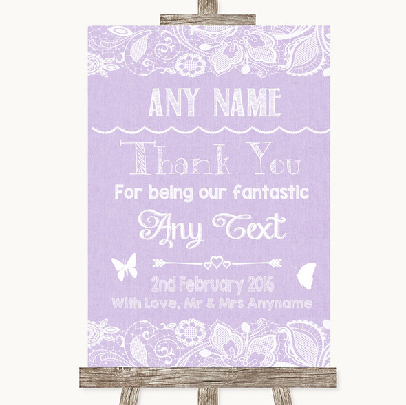 Lilac Burlap & Lace Thank You Bridesmaid Page Boy Best Man Wedding Sign