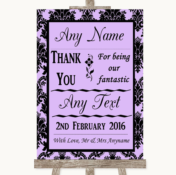 Lilac Damask Thank You Bridesmaid Page Boy Best Man Personalised Wedding Sign