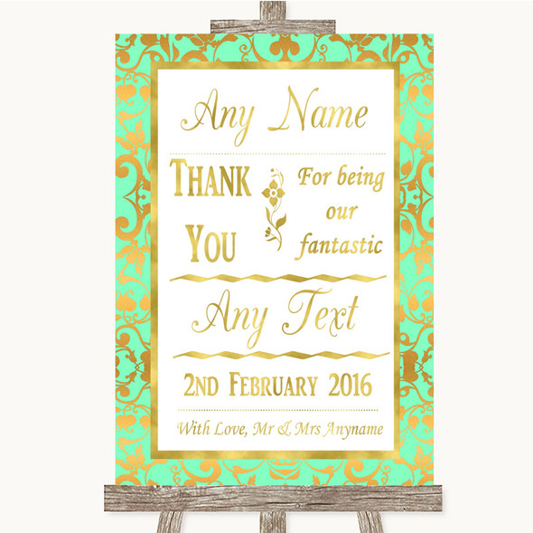 Mint Green & Gold Thank You Bridesmaid Page Boy Best Man Wedding Sign