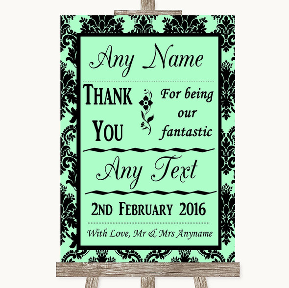 Mint Green Damask Thank You Bridesmaid Page Boy Best Man Wedding Sign