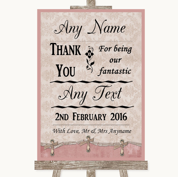 Pink Shabby Chic Thank You Bridesmaid Page Boy Best Man Wedding Sign