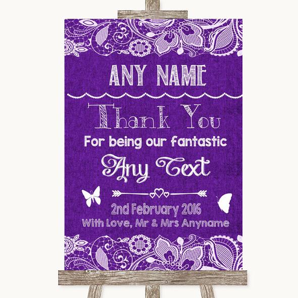 Purple Burlap & Lace Thank You Bridesmaid Page Boy Best Man Wedding Sign
