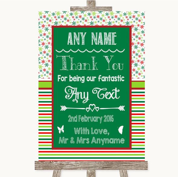 Red & Green Winter Thank You Bridesmaid Page Boy Best Man Wedding Sign