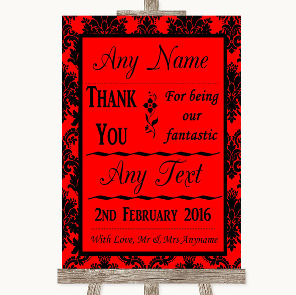 Red Damask Thank You Bridesmaid Page Boy Best Man Personalised Wedding Sign