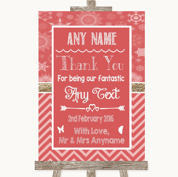 Red Winter Thank You Bridesmaid Page Boy Best Man Personalised Wedding Sign
