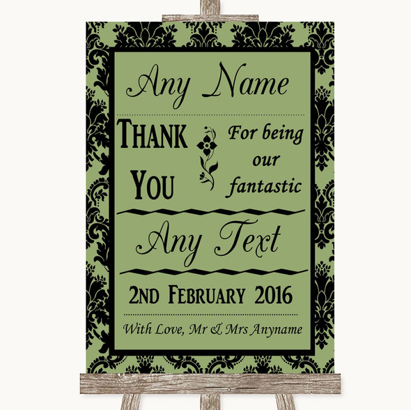 Sage Green Damask Thank You Bridesmaid Page Boy Best Man Wedding Sign