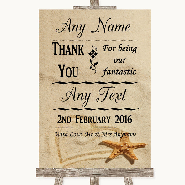 Sandy Beach Thank You Bridesmaid Page Boy Best Man Personalised Wedding Sign