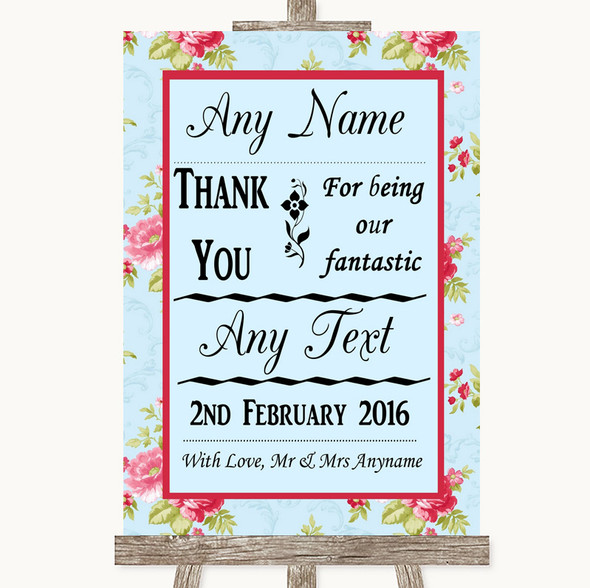 Shabby Chic Floral Thank You Bridesmaid Page Boy Best Man Wedding Sign
