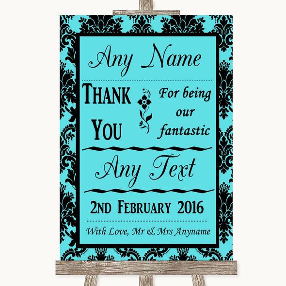 Tiffany Blue Damask Thank You Bridesmaid Page Boy Best Man Wedding Sign