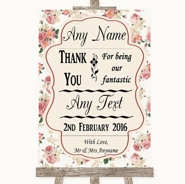 Vintage Roses Thank You Bridesmaid Page Boy Best Man Personalised Wedding Sign