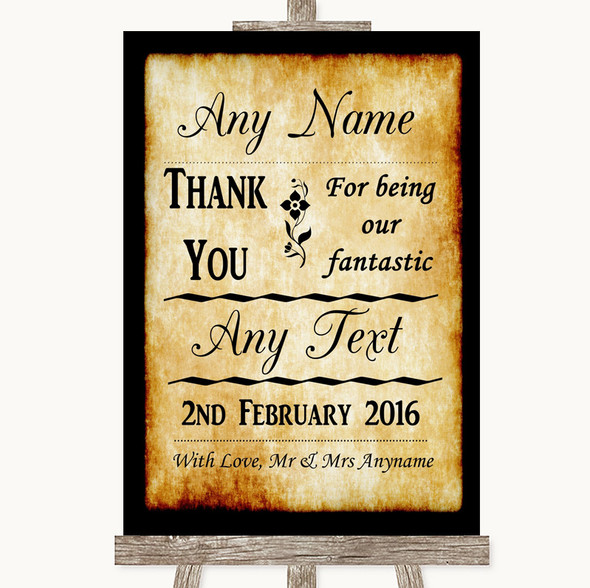 Western Thank You Bridesmaid Page Boy Best Man Personalised Wedding Sign