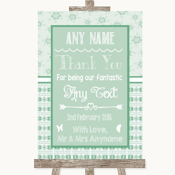 Winter Green Thank You Bridesmaid Page Boy Best Man Personalised Wedding Sign