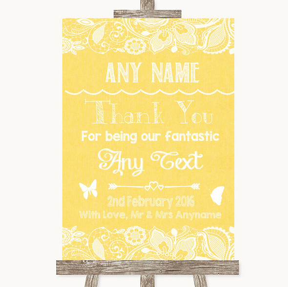 Yellow Burlap & Lace Thank You Bridesmaid Page Boy Best Man Wedding Sign