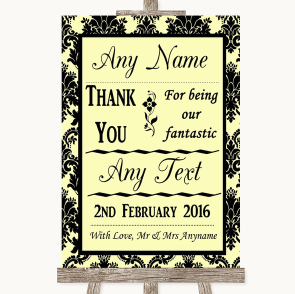 Yellow Damask Thank You Bridesmaid Page Boy Best Man Personalised Wedding Sign
