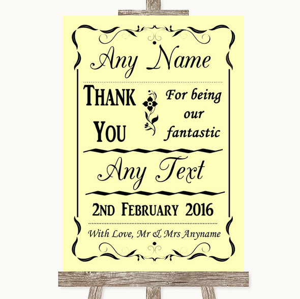 Yellow Thank You Bridesmaid Page Boy Best Man Personalised Wedding Sign