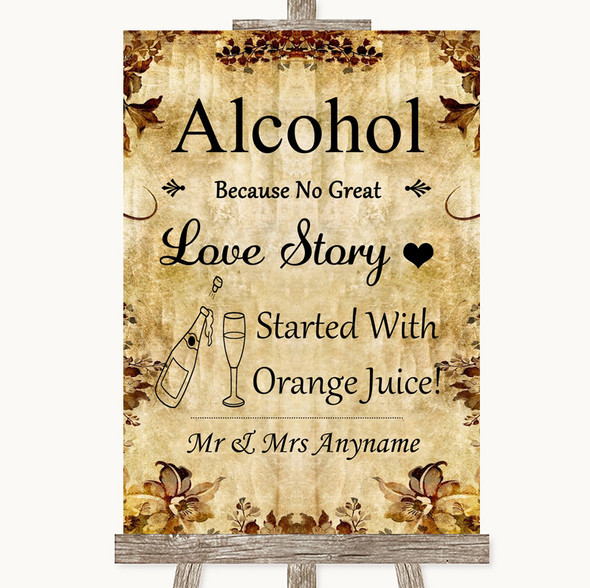 Autumn Vintage Alcohol Bar Love Story Personalised Wedding Sign