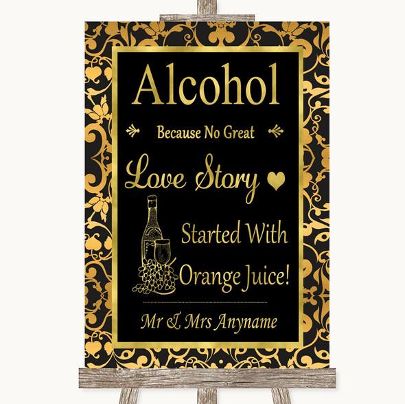 Black & Gold Damask Alcohol Bar Love Story Personalised Wedding Sign