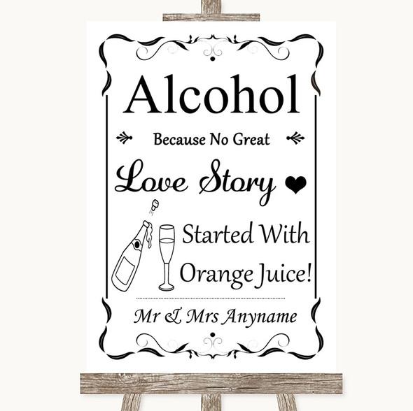 Black & White Alcohol Bar Love Story Personalised Wedding Sign