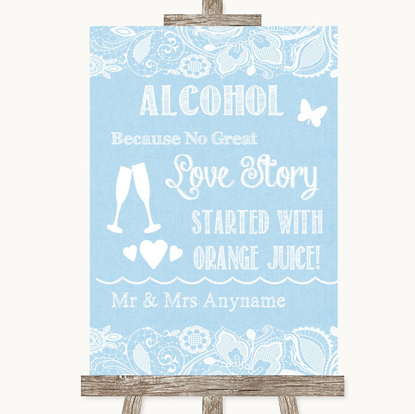 Blue Burlap & Lace Alcohol Bar Love Story Personalised Wedding Sign