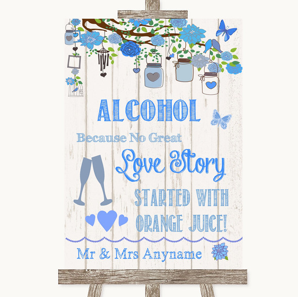 Blue Rustic Wood Alcohol Bar Love Story Personalised Wedding Sign