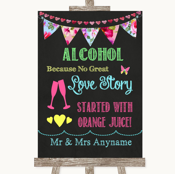 Bright Bunting Chalk Alcohol Bar Love Story Personalised Wedding Sign