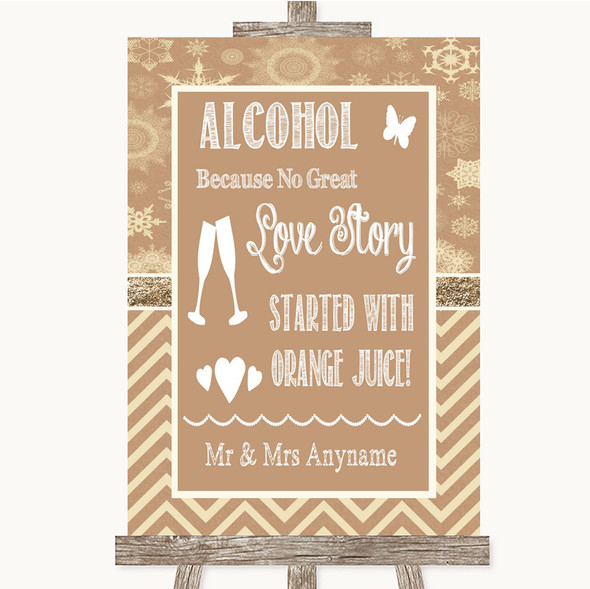 Brown Winter Alcohol Bar Love Story Personalised Wedding Sign