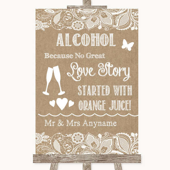 Burlap & Lace Alcohol Bar Love Story Personalised Wedding Sign