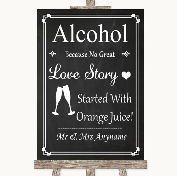 Chalk Style Alcohol Bar Love Story Personalised Wedding Sign