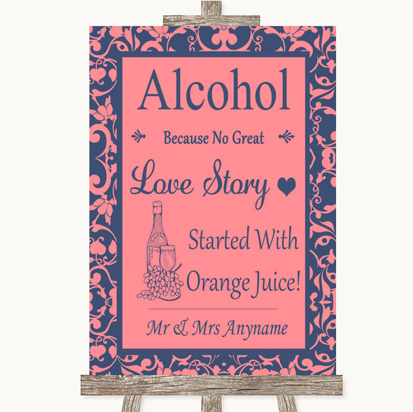 Coral Pink & Blue Alcohol Bar Love Story Personalised Wedding Sign