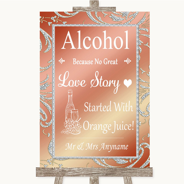 Coral Pink Alcohol Bar Love Story Personalised Wedding Sign