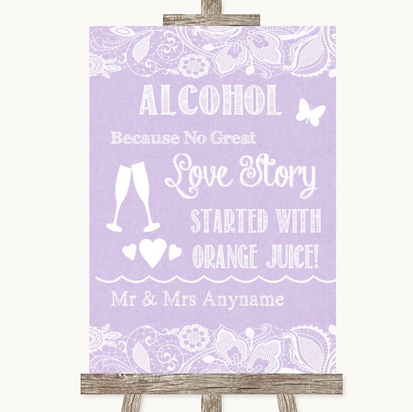 Lilac Burlap & Lace Alcohol Bar Love Story Personalised Wedding Sign