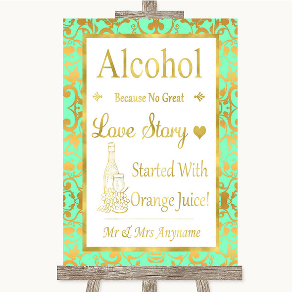 Mint Green & Gold Alcohol Bar Love Story Personalised Wedding Sign