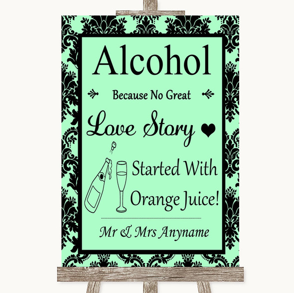 Mint Green Damask Alcohol Bar Love Story Personalised Wedding Sign