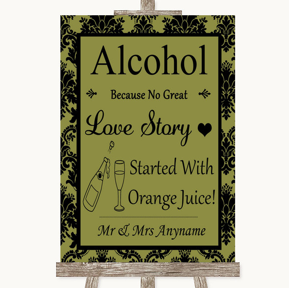 Olive Green Damask Alcohol Bar Love Story Personalised Wedding Sign