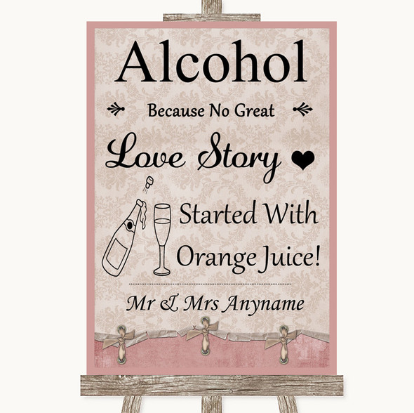 Pink Shabby Chic Alcohol Bar Love Story Personalised Wedding Sign