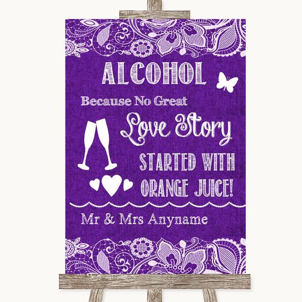 Purple Burlap & Lace Alcohol Bar Love Story Personalised Wedding Sign