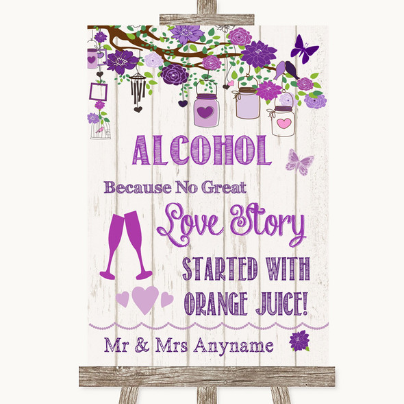 Purple Rustic Wood Alcohol Bar Love Story Personalised Wedding Sign