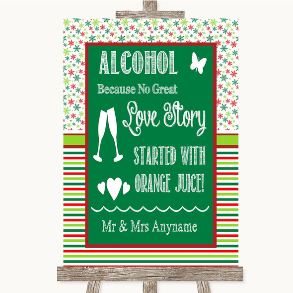 Red & Green Winter Alcohol Bar Love Story Personalised Wedding Sign
