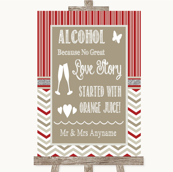 Red & Grey Winter Alcohol Bar Love Story Personalised Wedding Sign