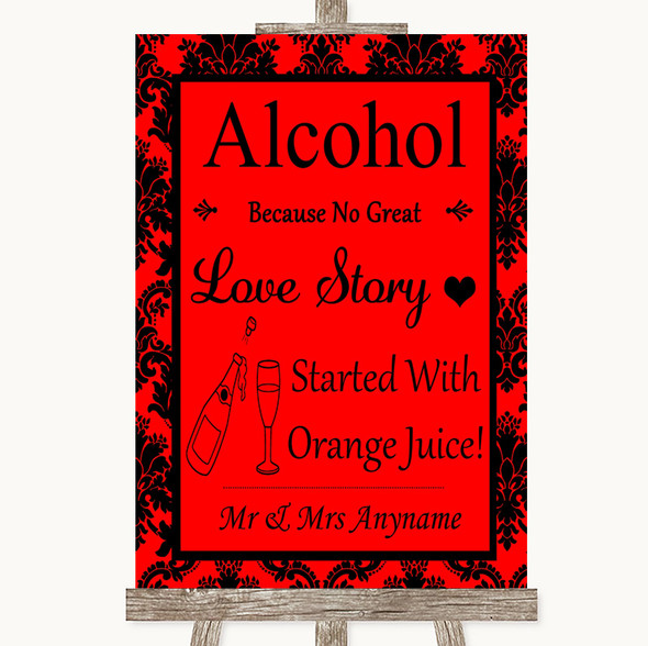 Red Damask Alcohol Bar Love Story Personalised Wedding Sign