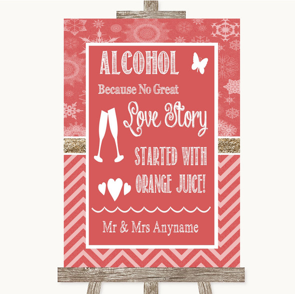 Red Winter Alcohol Bar Love Story Personalised Wedding Sign