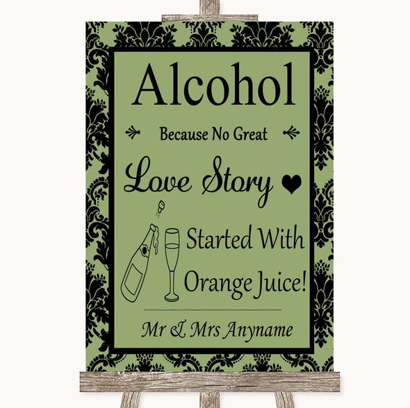 Sage Green Damask Alcohol Bar Love Story Personalised Wedding Sign