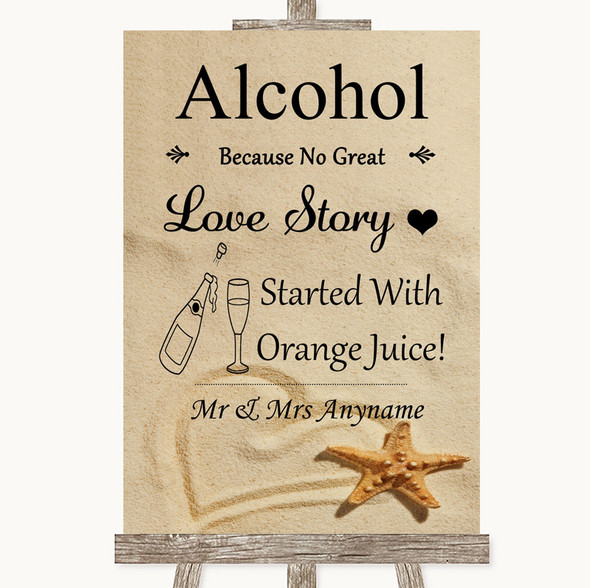 Sandy Beach Alcohol Bar Love Story Personalised Wedding Sign