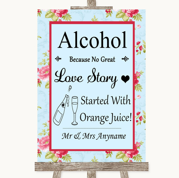 Shabby Chic Floral Alcohol Bar Love Story Personalised Wedding Sign