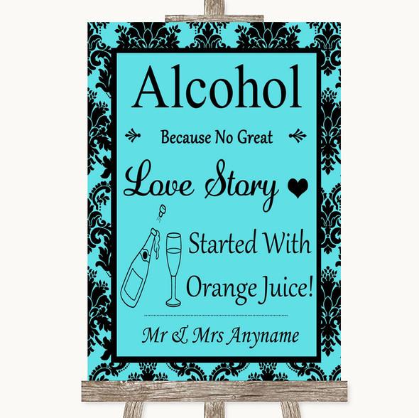 Tiffany Blue Damask Alcohol Bar Love Story Personalised Wedding Sign