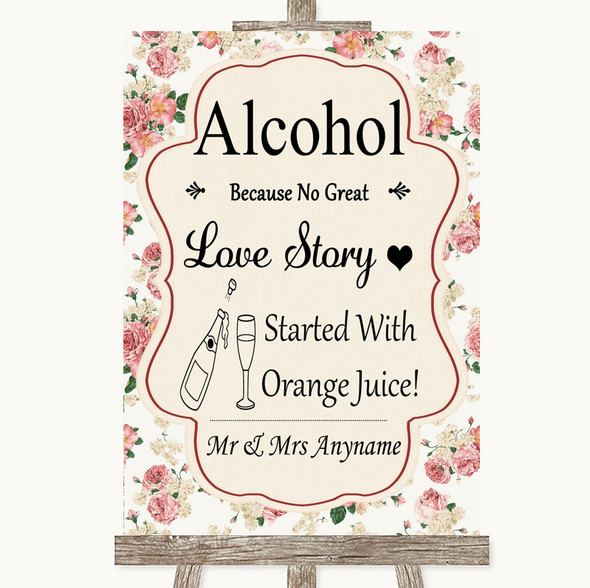 Vintage Roses Alcohol Bar Love Story Personalised Wedding Sign